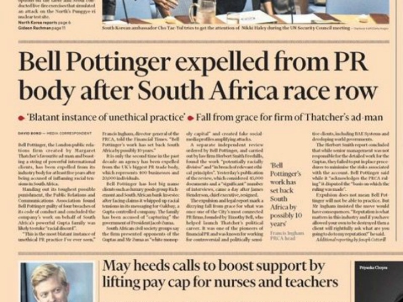 Bell Pottinger deserted by clients