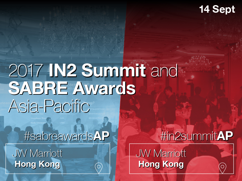 2017 Asia-Pacific In2Summit & SABRE Awards To Take Place 14 September In HK