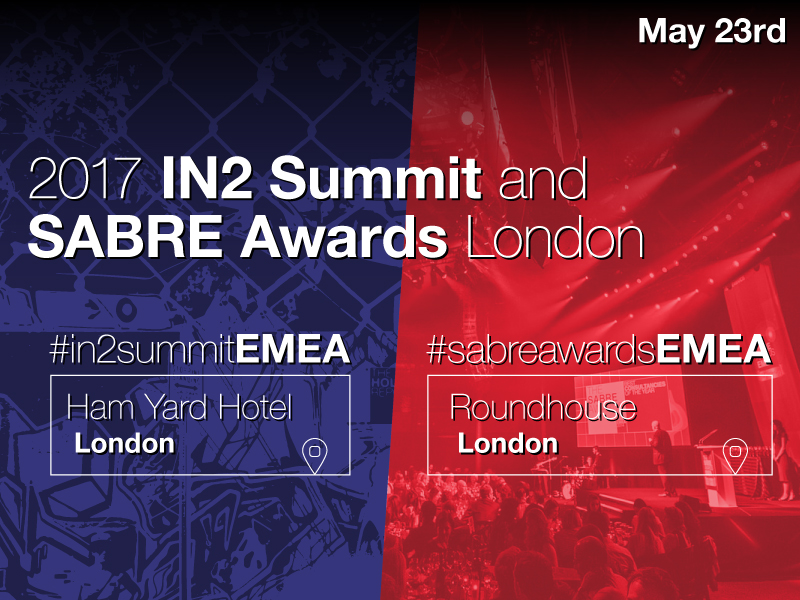2017 EMEA In2Summit & SABRE Awards Return To London On 23 May